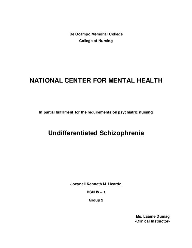 81900765 case study example de ocampo memorial college college of nursing national center for mental health in partial fulfillment for maxwellsz