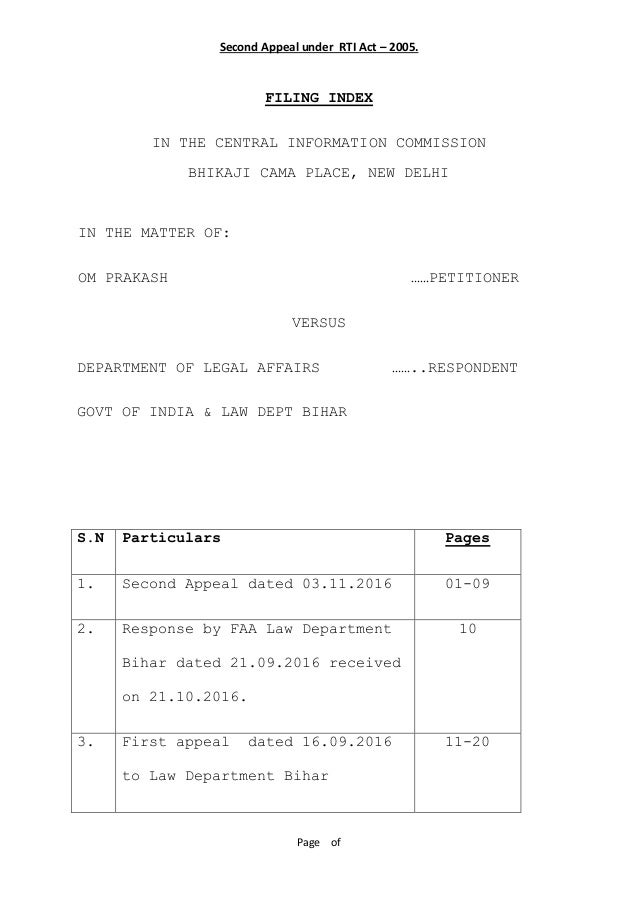 Second appeal against department of legal affairs dated 311 2016 second appeal against department of legal affairs dated 311 2016 second appeal under rti act 2005 page of filing index in the central information sciox Gallery