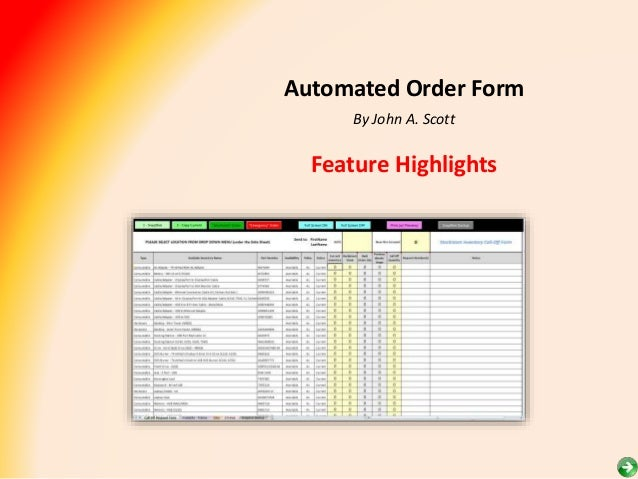 Order Form Feature Highlights