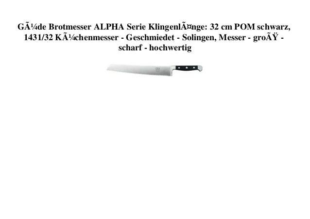 Güde Brotmesser ALPHA Serie Klingenlänge: 32 cm POM schwarz, 1431/32 Küchenmesser - Geschmiedet - Solingen, Messer - gr...