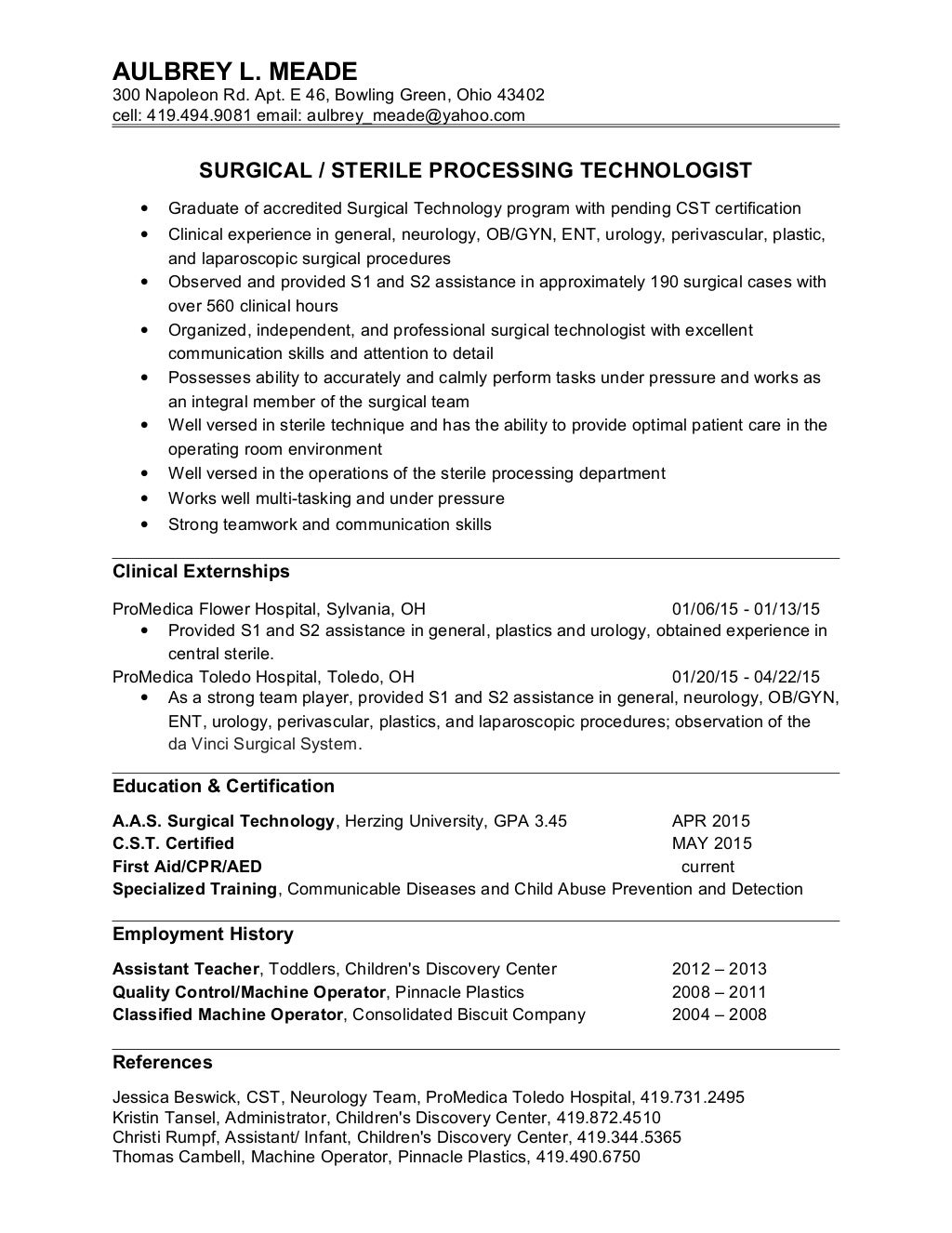 aulbrey meade surgical tech resume - Surgical Technologist Resume