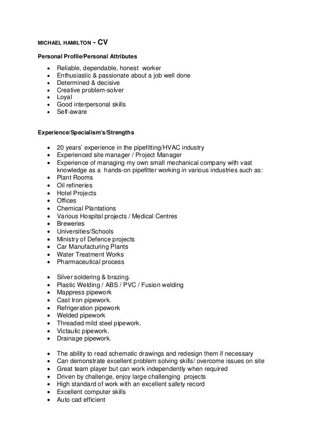 old fashioned curriculum vitae personal attributes collection