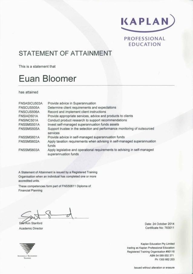 Kaplan Super Package Training Certificate