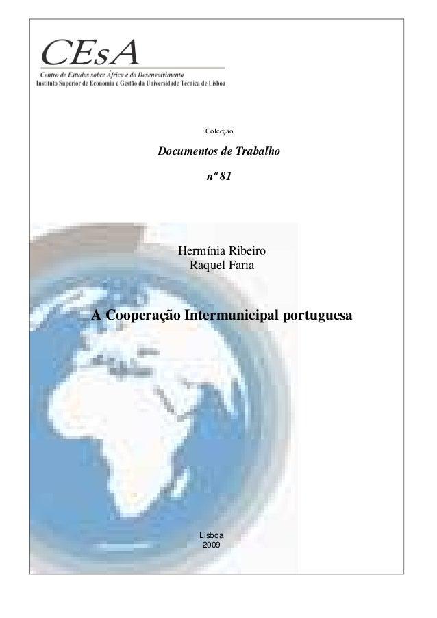 Colecção         Documentos de Trabalho                 nº 81            Hermínia Ribeiro             Raquel FariaA Cooper...