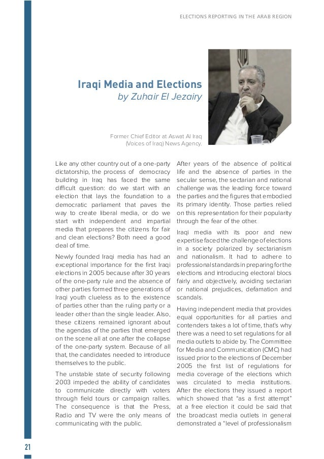 """22 ELECTIONS REPORTING IN THE ARAB REGION higher than what was expected"""" and that by respecting most of the rules and regu..."""