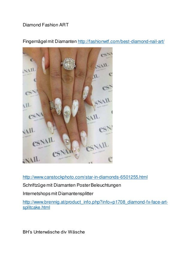 Diamond Fashion ART Fingernägelmit Diamanten http://fashionwtf.com/best-diamond-nail-art/ http://www.canstockphoto.com/sta...