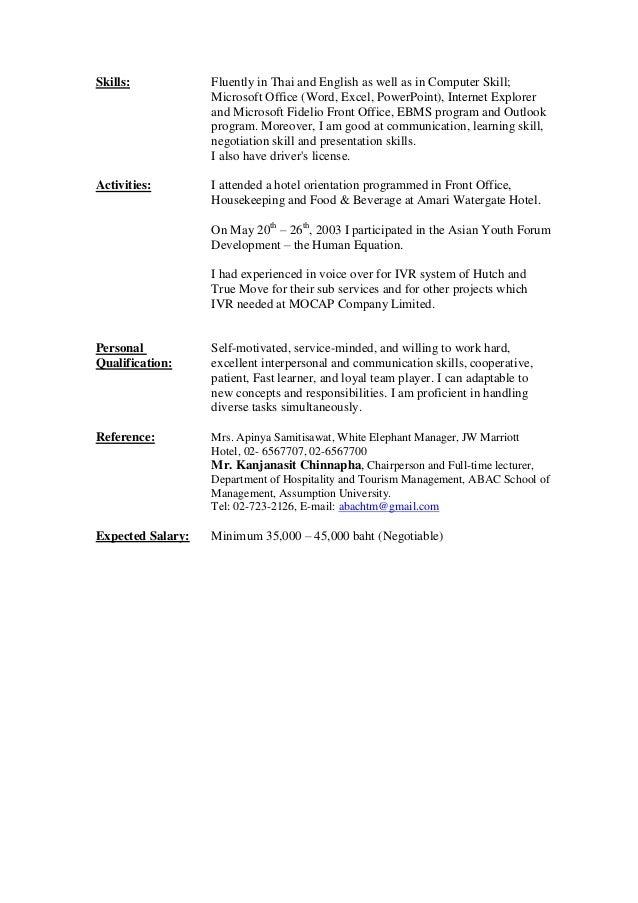 Enchanting Hotel And Tourism Management Resume Pattern - Best Resume ...