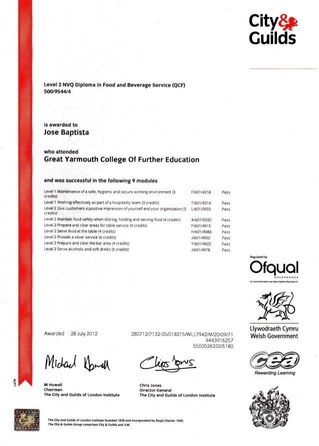 Jose Baptista-Certificate