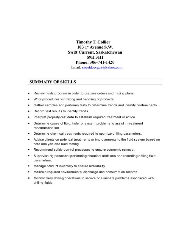 Tim Colliers Cover Letter and Resume 2015