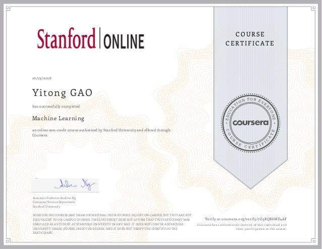 Stanford University Machine Learning Certification