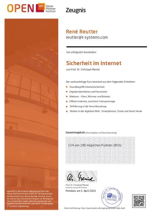 openHPI ist die Internet-Bildungsplattform des Hasso-Plattner-Instituts (HPI) für Softwaresystem- technik GmbH. Das Hasso-...