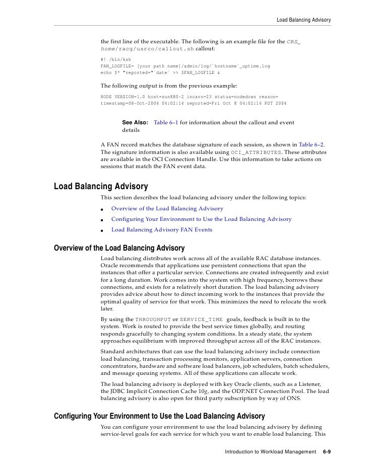 Load Balancing Advisory                the first line of the executable. The following is an example file for the CRS_    ...