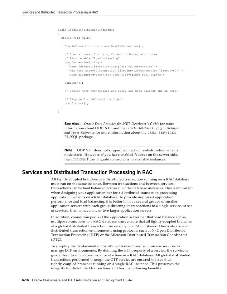 Services and Distributed Transaction Processing in RAC                             class LoadBalancingEnablingSample      ...