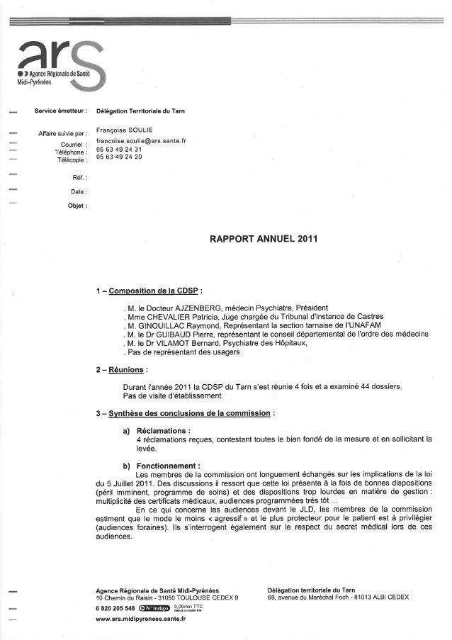 81 rapport activité cdsp 2011
