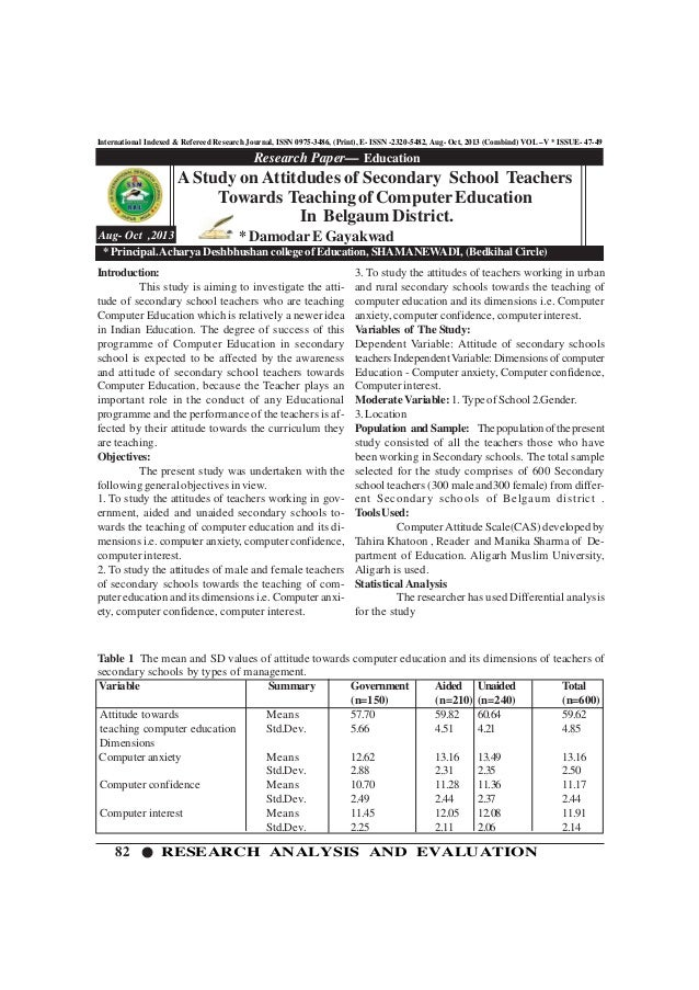 82 RESEARCH ANALYSIS AND EVALUATION International Indexed & Refereed Research Journal, ISSN 0975-3486, (Print), E- ISSN -2...