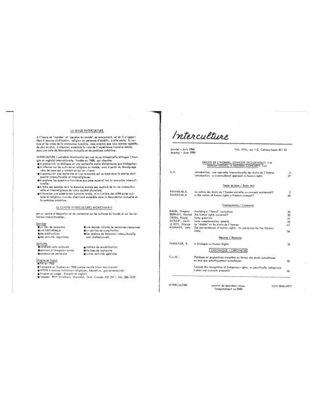82 droits de l'homme, concept occidental ? - cahier i, r. vachon, r. panikkar, g. baum,, h. berman, m. chiba, d. goulet, e. le roy, j. mohawk. (textes fr. et angl.). (document à télécharger en format pdf, 2,1 mb). Slide 2