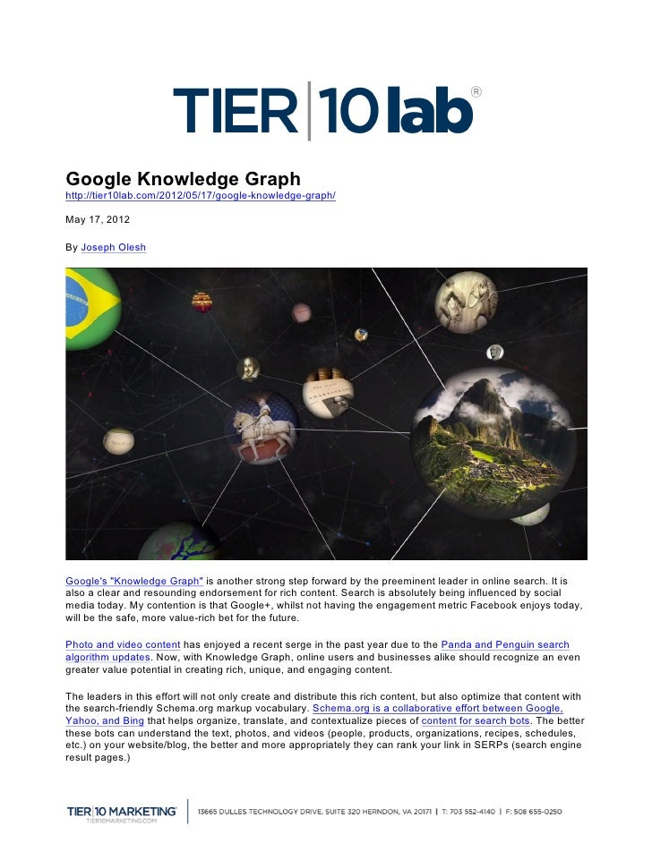 "Google Knowledge Graphhttp://tier10lab.com/2012/05/17/google-knowledge-graph/May 17, 2012   	  By Joseph OleshGoogles ""Kno..."