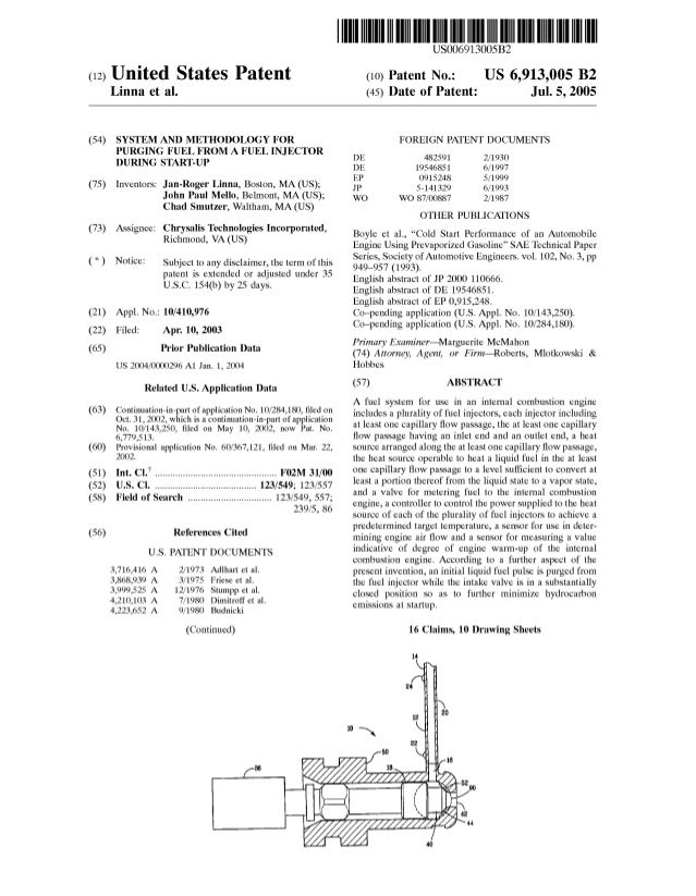 (12) United States Patent Linna et al. (54) SYSTEM AND METHODOLOGY FOR PURGING FUEL FROM A FUEL INJECTOR DURING START-UP (...