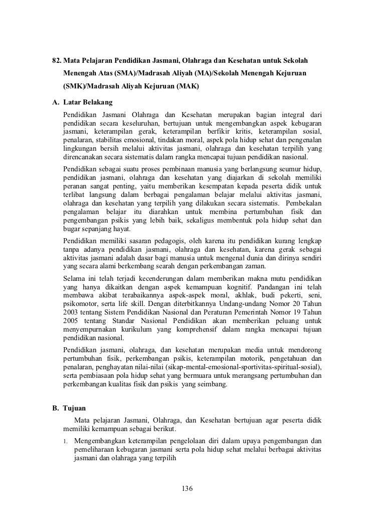 82. Mata Pelajaran Pendidikan Jasmani, Olahraga dan Kesehatan untuk Sekolah   Menengah Atas (SMA)/Madrasah Aliyah (MA)/Sek...