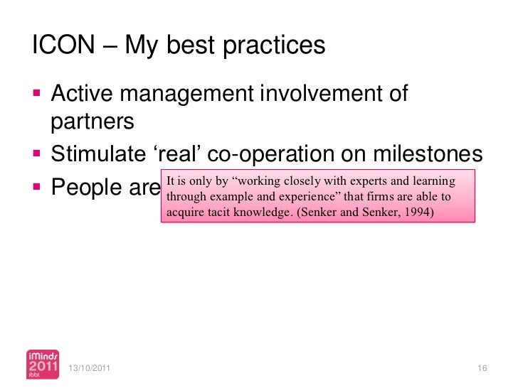ICON – My best practices Active management involvement of  partners Stimulate 'real' co-operation on milestones People ...