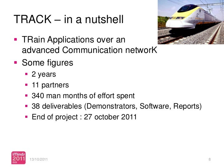 TRACK – in a nutshell TRain Applications over an  advanced Communication networK Some figures      2 years      11 par...