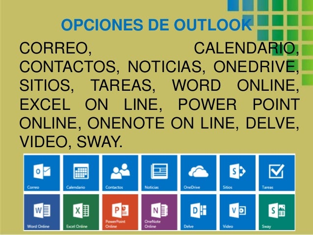 OPCIONES DE OUTLOOK CORREO, CALENDARIO, CONTACTOS, NOTICIAS, ONEDRIVE, SITIOS, TAREAS, WORD ONLINE, EXCEL ON LINE, POWER P...