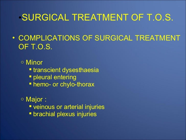 Thoracic outlet complications
