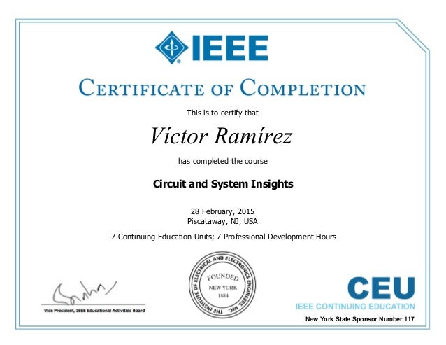 IEEE - Certificate of Completion