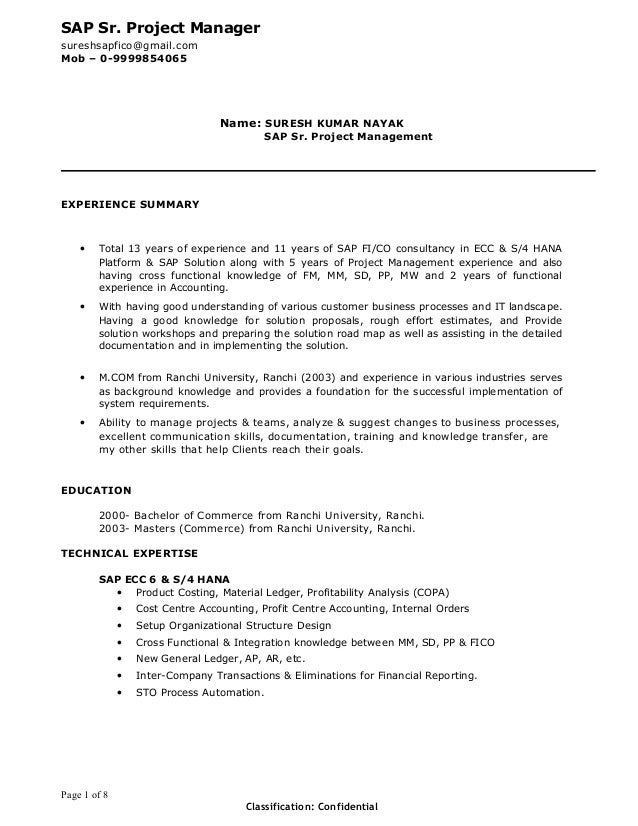 suresh sap project manager resume
