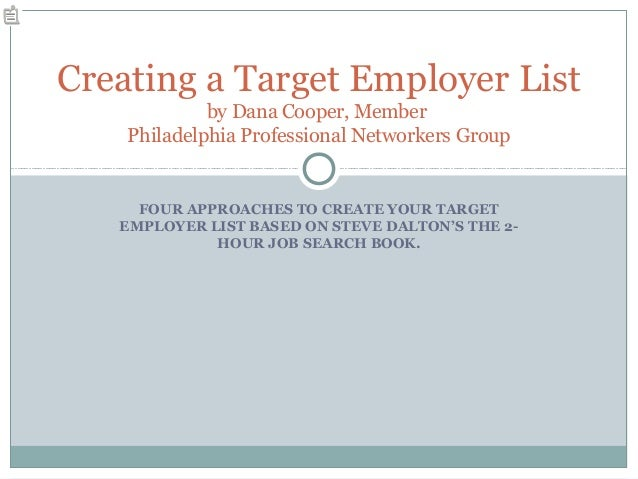 FOUR APPROACHES TO CREATE YOUR TARGET EMPLOYER LIST BASED ON STEVE DALTON'S THE 2- HOUR JOB SEARCH BOOK. Creating a Target...