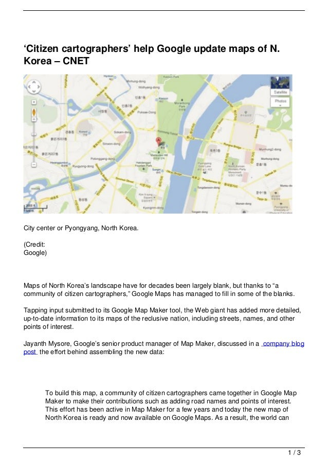 'Citizen cartographers' help Google update maps of N.Korea – CNETCity center or Pyongyang, North Korea.(Credit:Google)Maps...