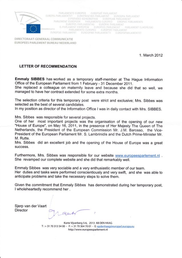 Letter Of Recommendation European Parliament