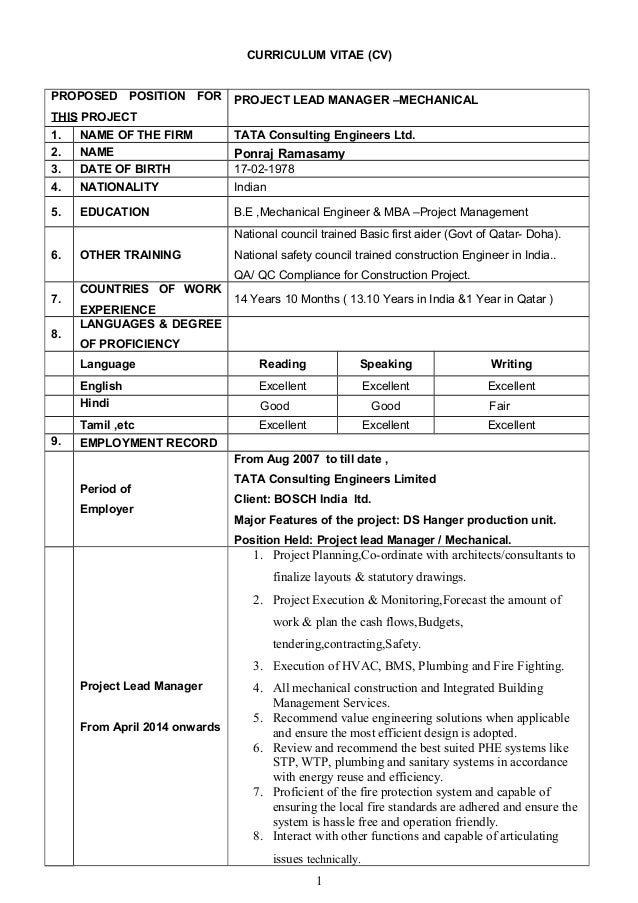 CURRICULUM VITAE (CV) PROPOSED POSITION FOR THIS PROJECT PROJECT LEAD MANAGER –MECHANICAL 1. NAME OF THE FIRM TATA Consult...