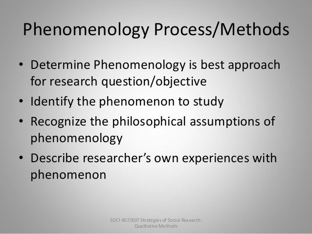 types of phenomenological research Chapter 3 research design and methodology 31 introduction  however, phenomenological research methodology is difficult to explain because it has no clearly defined steps this is due, in part, to the reluctance of phenomenologists to place  research as the methods and techniques of observing, documenting, analysing, and interpreting.