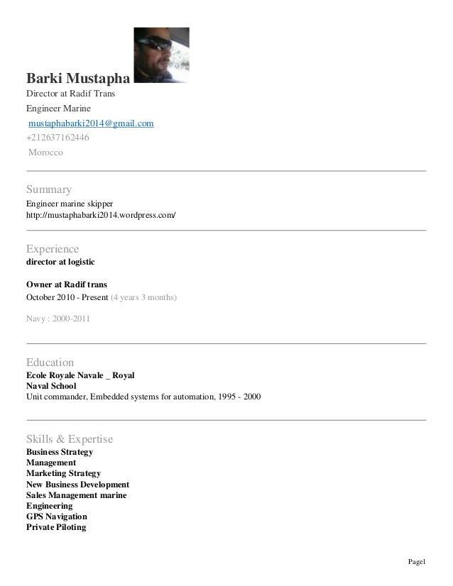 Page1  Barki Mustapha  Director at Radif Trans  Engineer Marine  mustaphabarki2014@gmail.com  +212637162446  Morocco  Summ...