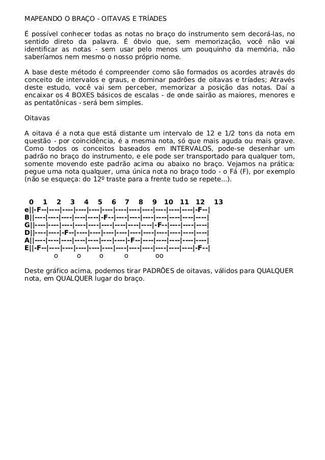 MAPEANDO O BRAÇO - OITAVAS E TRÍADES É possível conhecer todas as notas no braço do instrumento sem decorá-las, no sentido...
