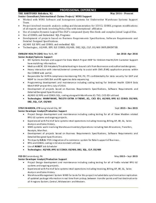 as400 wms resume
