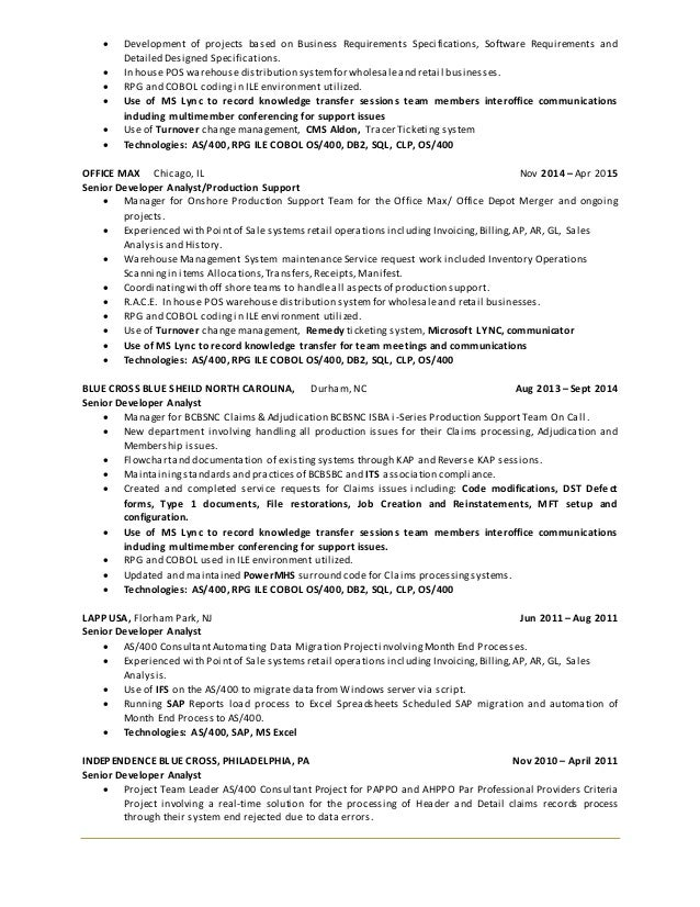 3 - As400 Administration Sample Resume