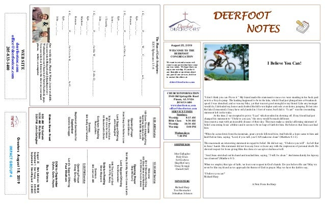 DEERFOOTDEERFOOTDEERFOOTDEERFOOT NOTESNOTESNOTESNOTES August 25, 2019 GreetersAugust18,2019 IMPACTGROUP4 WELCOME TO THE DE...