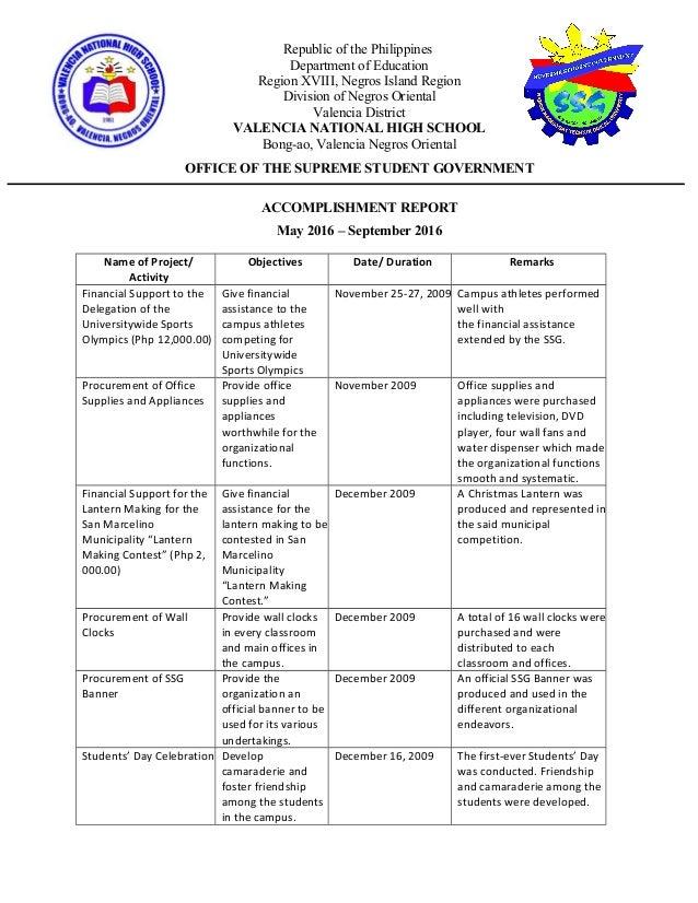 82543946 Ssg Accomplishment Report