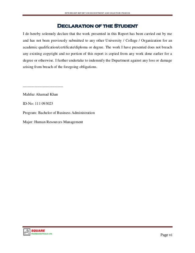Internship Report On Square Pharmaceuticals Ltd