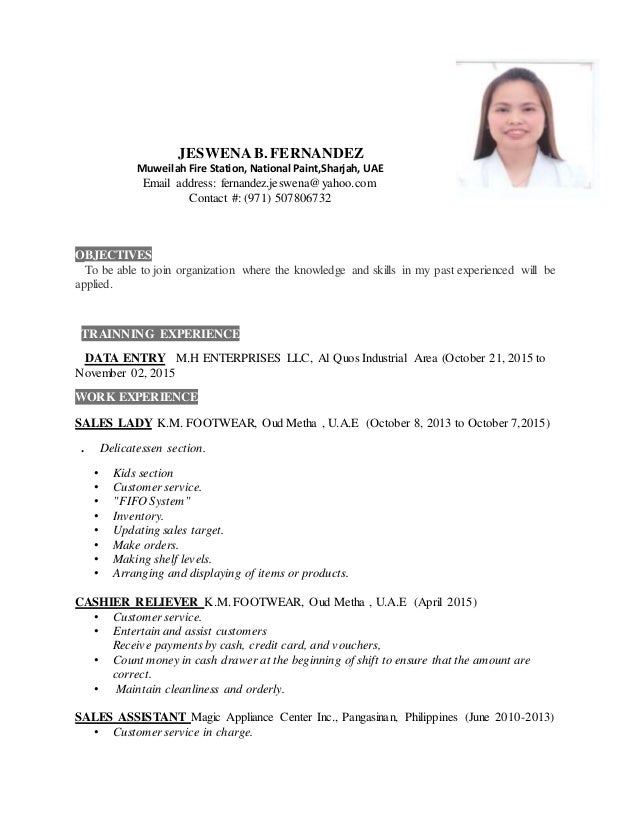 Sales Lady Job Description Resume Resume Ideas