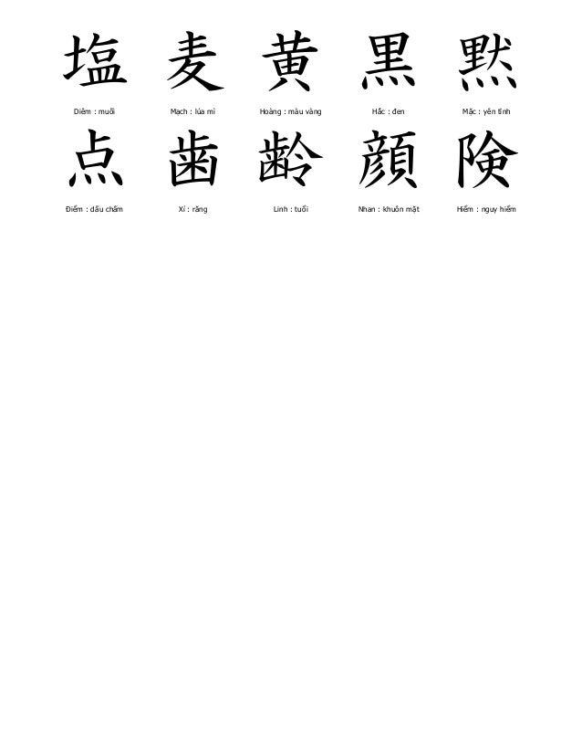 塩  Diêm : muối  麦  Mạch : lúa mì  黄  Hoàng : màu vàng  黒  Hắc : đen  黙  Mặc : yên tĩnh  点  Điểm : dấu chấm  歯  Xỉ : răng  ...