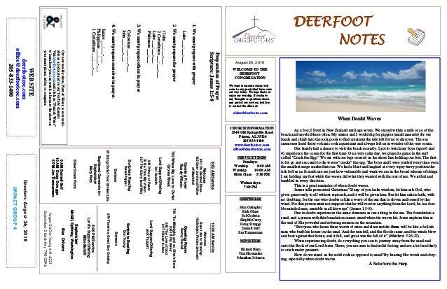 August 26, 2018 GreetersAugust26,2018 IMPACTGROUP4 DEERFOOTDEERFOOTDEERFOOTDEERFOOT NOTESNOTESNOTESNOTES WELCOME TO THE DE...