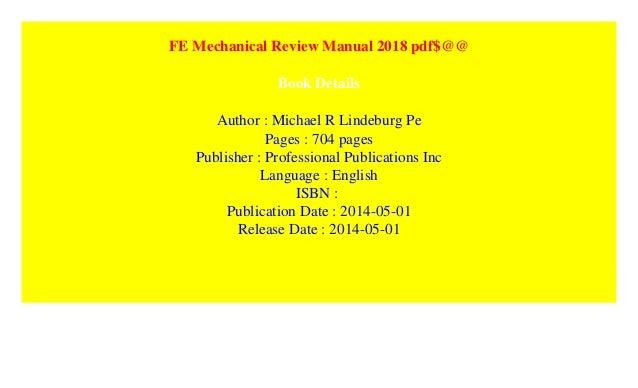 Fe Mechanical Review Manual 2014 Pdf