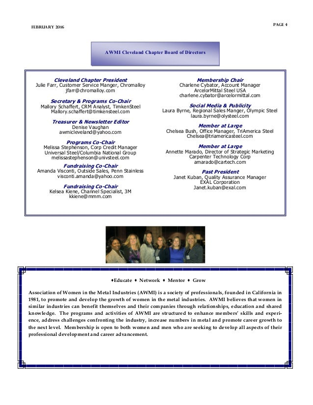 Educate  Network  Mentor  Grow Association of Women in the Metal Industries (AWMI) is a society of professionals, foun...