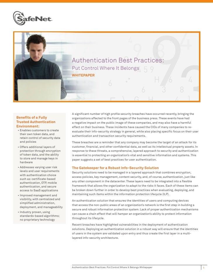 Authentication Best Practices:                                      Put Control Where It Belongs                          ...