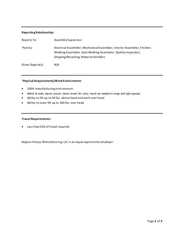 Sample Job Description Assembler Custom Paper