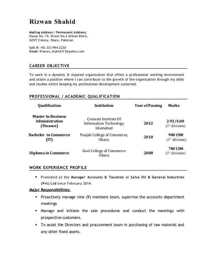 Resume - Rizwan Shahid