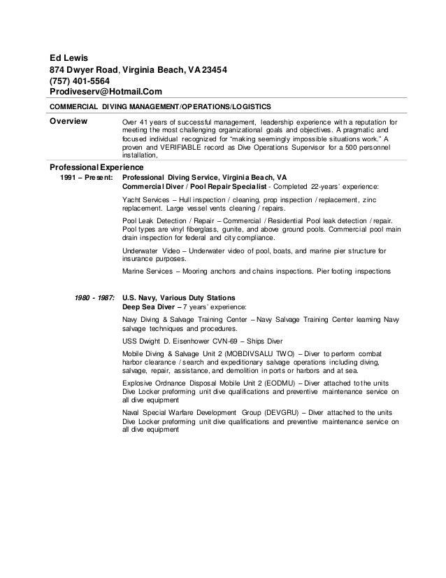 Diver resume